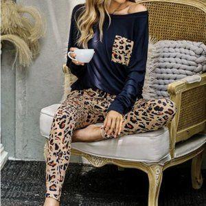 Navy Blue Leopard Print Loungwear Set